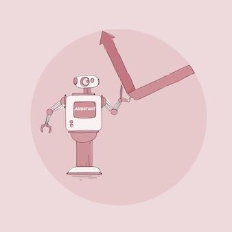 Robot moderno che mette icona del grafico finanziario freccia su, tecnologia futuristica del meccanismo di intelligenza artificiale