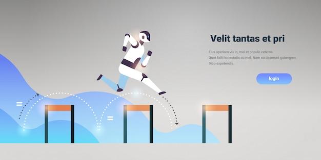 Robot moderno che salta sopra la tecnologia di intelligenza artificiale ostacolo