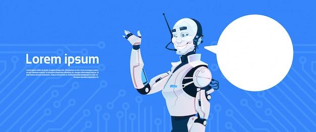 Robot moderno con chat bubble, tecnologia futuristica del meccanismo di intelligenza artificiale