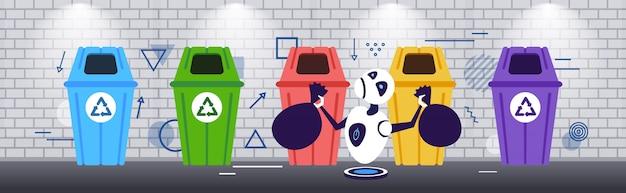 Robot moderno mettendo sacchetti di immondizia in diversi tipi di contenitori per la raccolta differenziata separare la gestione dei rifiuti intelligenza concetto schizzo orizzontale a figura intera