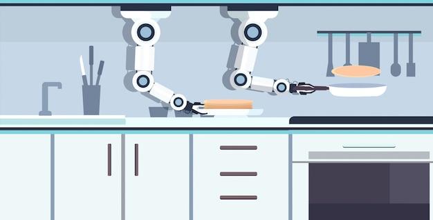 Robot pratico pratico del cuoco unico che prepara i pancake deliziosi sulla padella robot assistente innovazione tecnologia concetto di intelligenza artificiale orizzontale moderna dell'interno della cucina