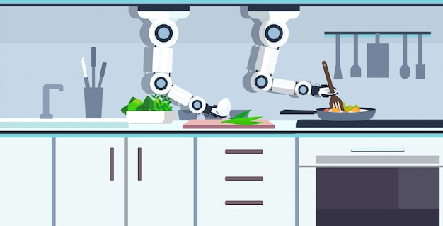 Robot pratico pratico del cuoco unico che prepara le uova fritte in padella robot assistente innovazione tecnologia concetto di intelligenza artificiale moderna cucina interno orizzontale