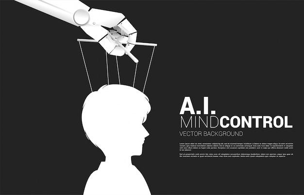 Robot puppet master controllando la sagoma della testa di uomo d'affari. concetto di età di manipolazione ai. umano contro macchina.