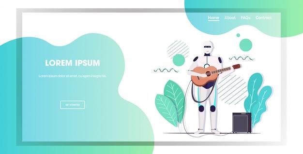 Robot suonare la chitarra personaggio robot chitarrista intelligenza artificiale tecnologia concetto orizzontale lunghezza spazio copia completa