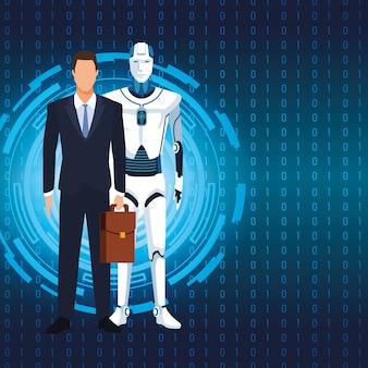Robot umanoide e uomo d'affari