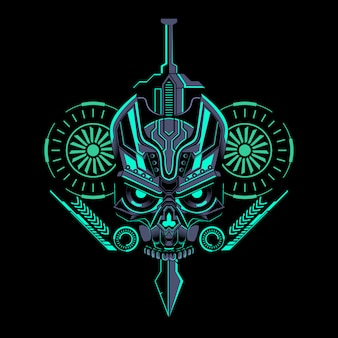 Robotic skull sword geometric