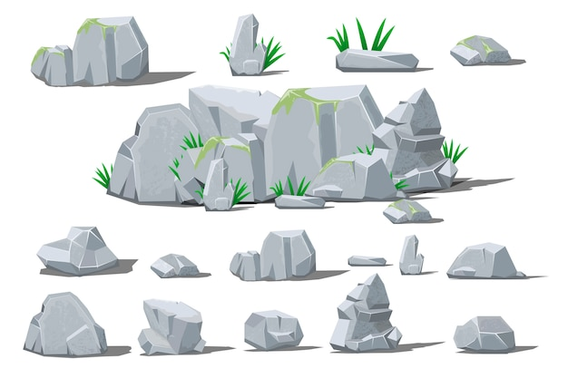 Roccia pietra grande set cartoon.