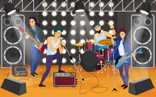 Rock band sul palco