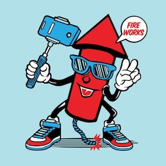 Rocket fireworks petardi selfie character design