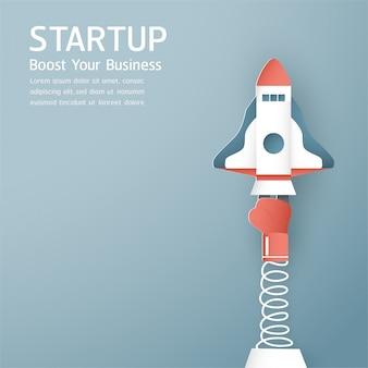 Rocket si sta alzando, tepmlate di background di startup