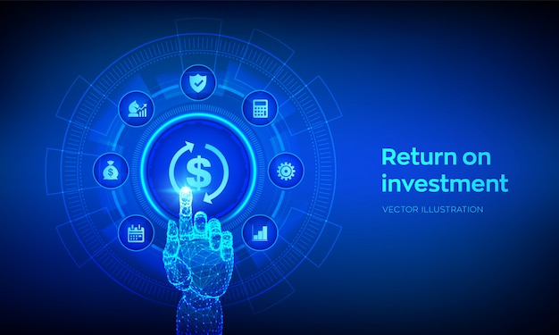 Roi. ritorno sugli investimenti e concetto di tecnologia. interfaccia digitale commovente della mano robot.
