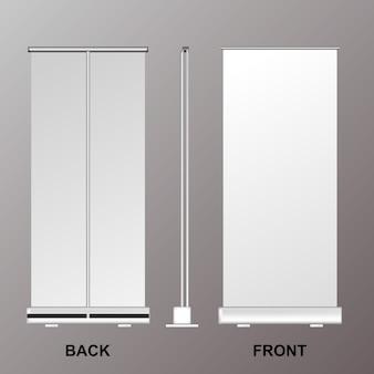 Roll banner stand, presentazione realistica aziendale modello aziendale, display pubblicità poster