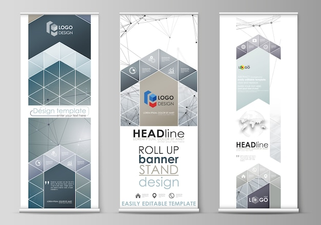Roll up banner stand, astratto geometrico, business, volantini verticali aziendali, layout di bandiera. struttura molecolare del dna e dei neuroni. medicina, concetto di scienza. grafica scalabile.