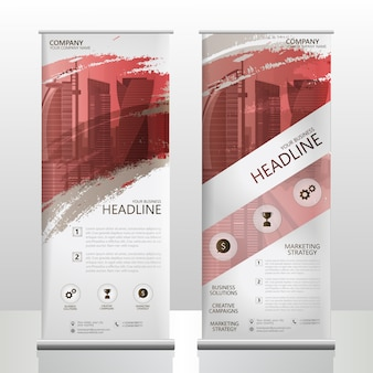 Roll up banner stand design modello volantino opuscolo con spruzzata di pennello