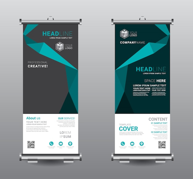 Roll up banner standee design modello di business.