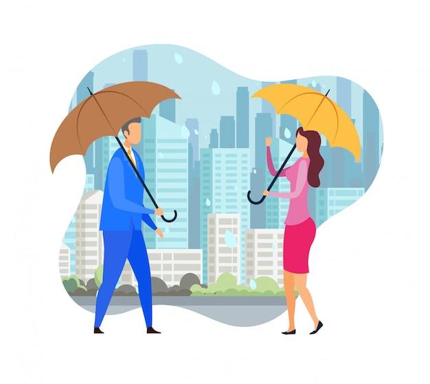 Romantic date under rain flat