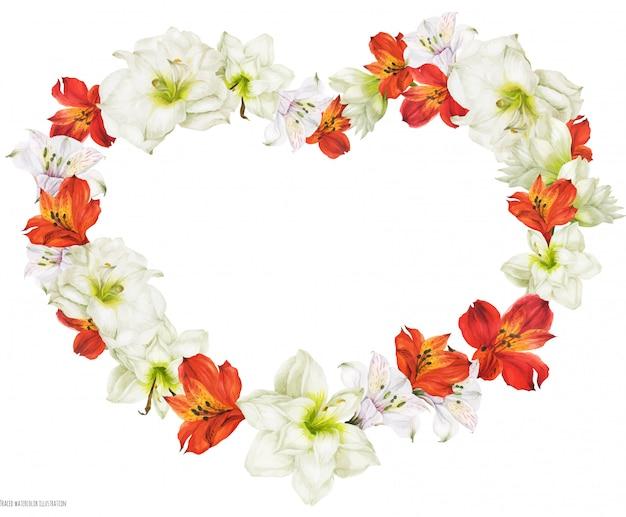Romantica a forma di cuore da sposa con fiori bianchi e rossi