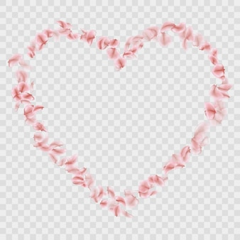 Romantica caduta sakura petali a forma di cuore.
