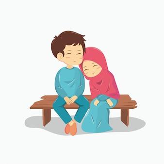 Romantica coppia musulmana