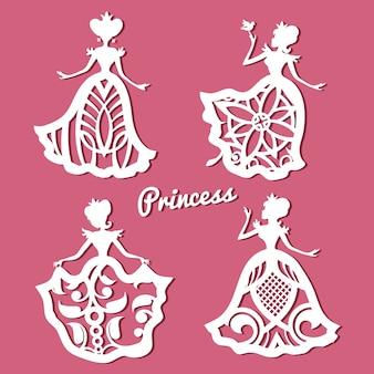 Romantica principessa in abiti da sposa in pizzo con motivo intagliato