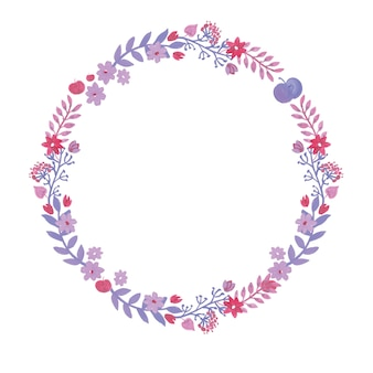 Romantico acquerello corona con fiori ad acquerelli