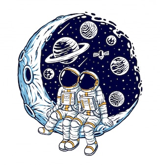 Romantico sull'illustrazione luna