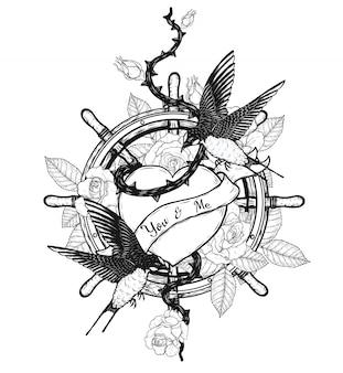 Rondini con disegno vettoriale di cuore tatuaggio a mano