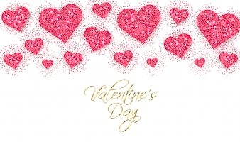 Rosa glitter cuori San Valentino giorno banner