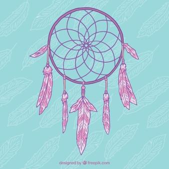 Rosa mano dreamcatcher disegnato su uno sfondo blu