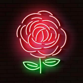 Rosa rossa incandescente icona al neon