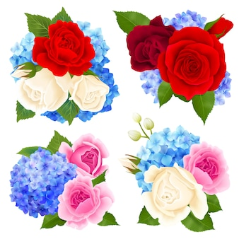 Rose bouquet concept icons set