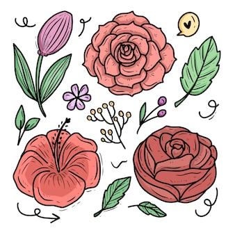 Rose fiore ornamento fumetto illustrazione vettoriale insieme di set