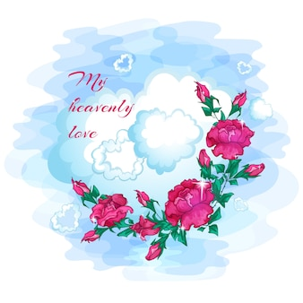 Rose, nuvole di cuori e auguri per san valentino.
