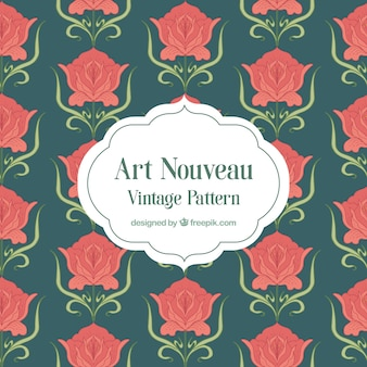 Rose piatte con motivo a foglie art nouveau