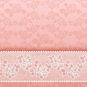 Rose su fondo, pizzo quadrato rosa