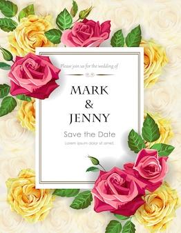 Rose sul modello di carta di nozze