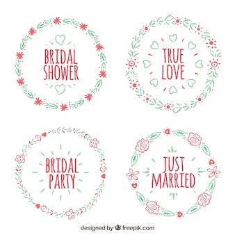 Rossi cornici floreali bridal shower blu e