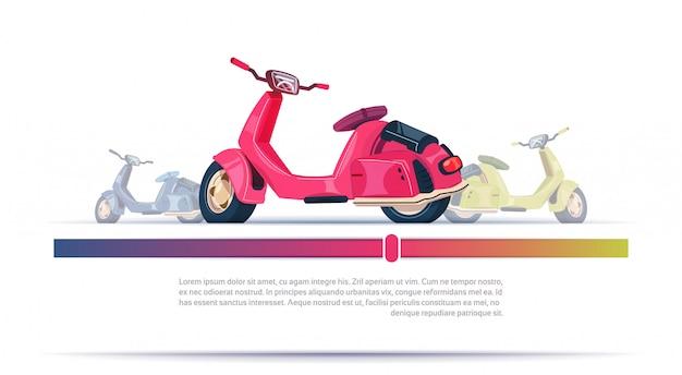 Rosso elettrico d'annata del motorino isolato sopra il fondo del modello con lo spazio della copia