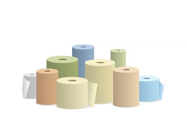Rotoli di carta su sfondo bianco illustrazione vettoriale.