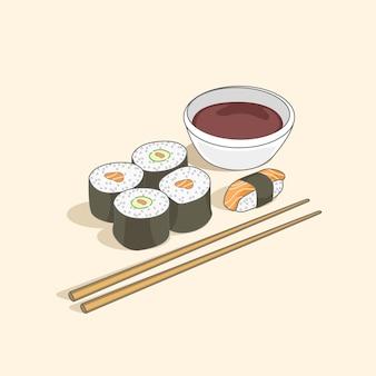 Rotoli di sushi con l'illustrazione della salsa di sushi