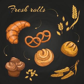 Rotoli e panini sulla lavagna. modello del menu del caffè del forno della lavagna