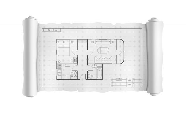 Rotolo bianco di ingegneria con la pianta della casa dettagliata, modello di costruzione su bianco