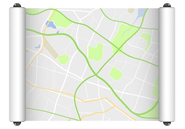 Rotolo di carta con la mappa stradale su bianco