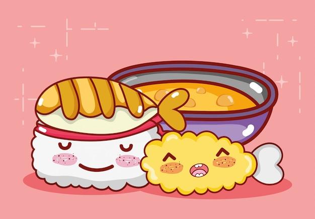 Rotolo di kawaii tempura di pesce e zuppa di cibo fumetto giapponese, sushi e panini