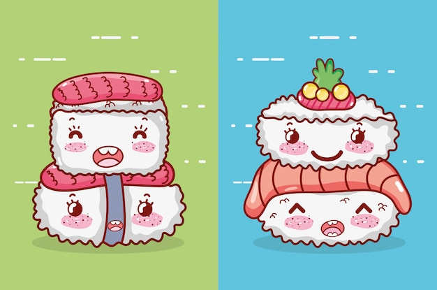 Rotolo di riso kawaii pesce sushi cibo wasabi fumetto giapponese, sushi e panini