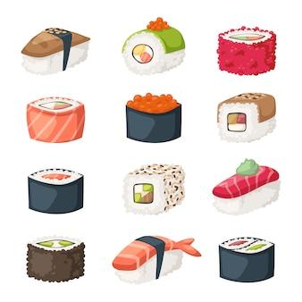 Rotolo di sushi con salmone, anguilla affumicata, vettore di cibo selettivo.