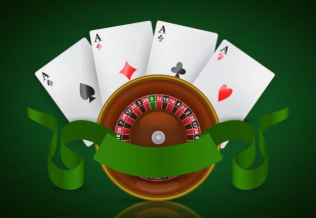 Roulette del casinò, quattro assi e nastro verde. pubblicità aziendale di casinò