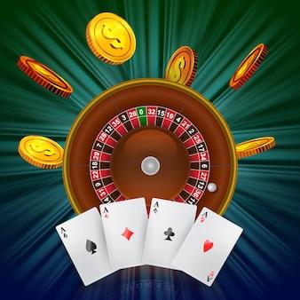 Roulette del casinò, volanti monete d'oro e quattro assi. pubblicità aziendale di casinò