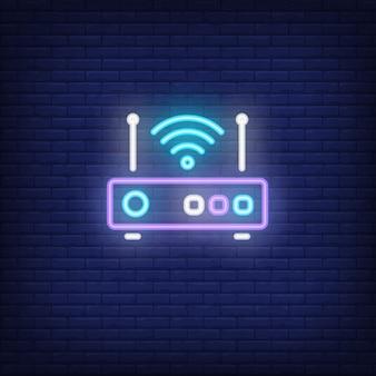 Router con segnale simbolo al neon