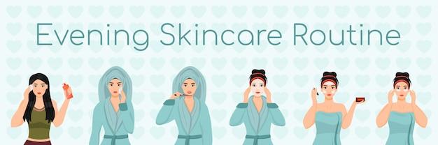 Routine di cura della pelle femminile da sera